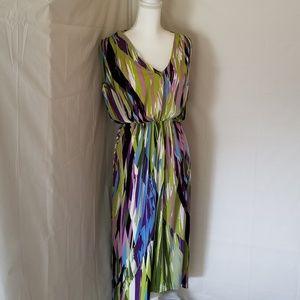 London Times Size 10 Multi Color V neck Dress